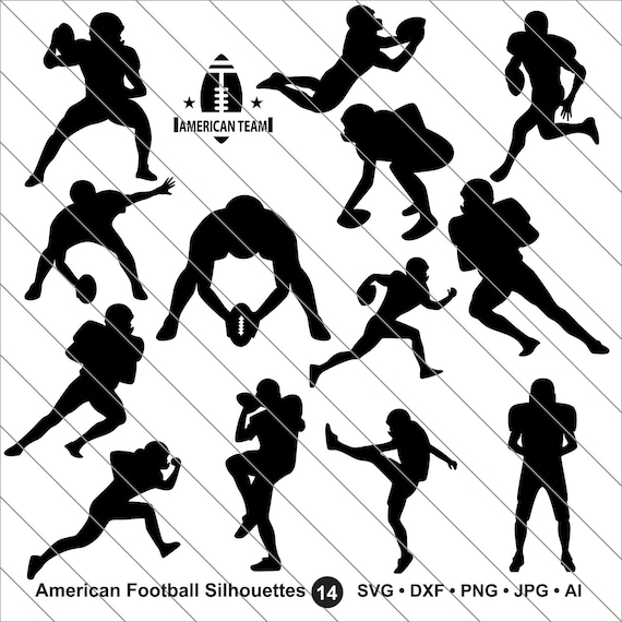 American Football Svg Football Player Clipart Bundle Svg Football Svg Cut File Dxf Png Use With Silhoutte Studio Cricut Instant Download