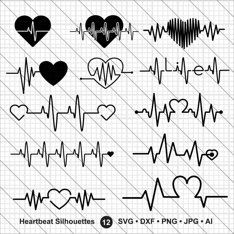 Heartbeat Silhouettes Svg Valentine Bundle Svg Cna Etsy