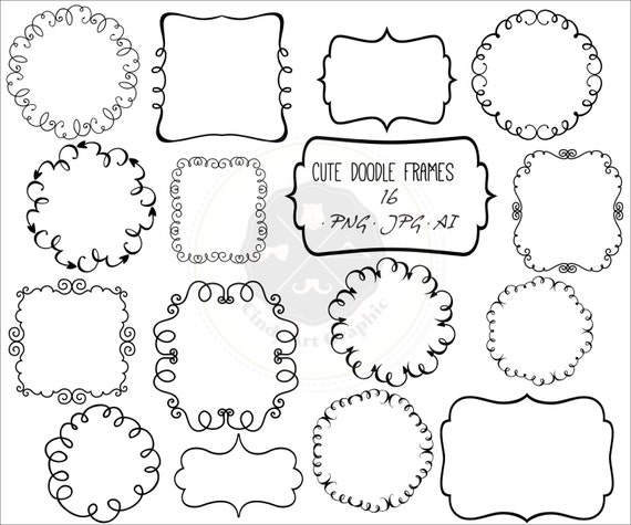 Cute Doodle Frames Clipartframe Clipartdoodle Borders Etsy