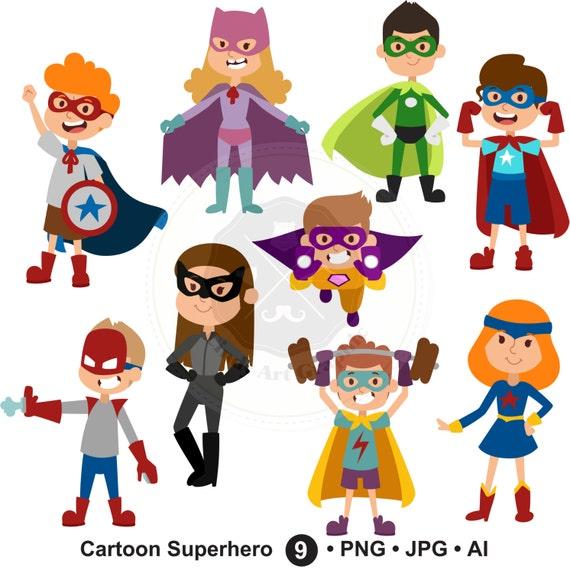Cartoon Superhero Clipartsuperhero Kidssuperhero Etsy