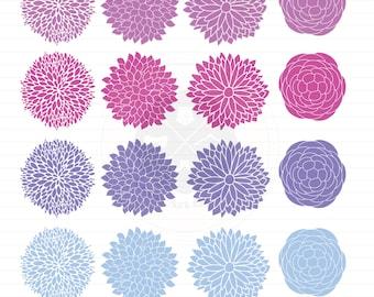 Flowers Clipart,dahlia flowers,flower clipart,purple flower,digital download