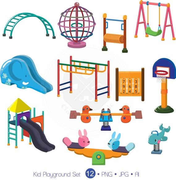 Enfant Aire De Jeux Ensemble Clipart Clipart Aire De Jeux Etsy