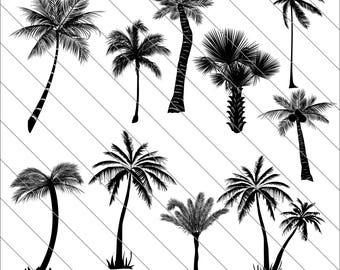 Palm Tree Silhouettes SVG, Palm Tree clipart,bundle svg,Palm Tree svg Cut File,DXF,PNG Use with Silhoutte Studio & Cricut Instant Download