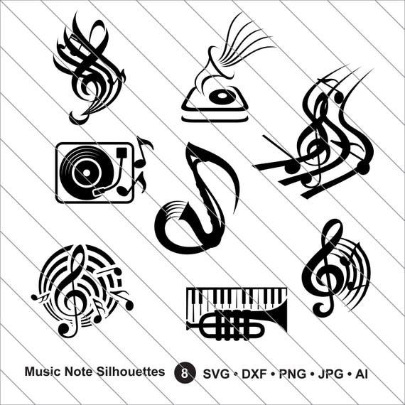 Music Note Silhouettes Svg Music Note Clipart Music Note Svg
