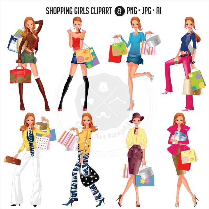 d0572d5cee36 Shopping Girls_2 Clipart clipart di moda donna moda ragazze | Etsy