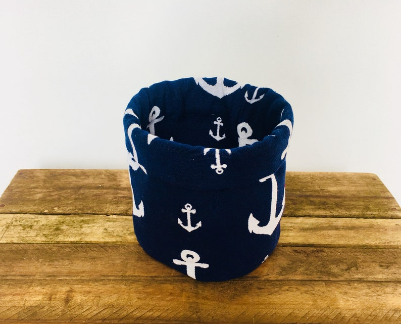 ANCHOR FABRIC BASKET  storage bucket  cloth basket  christmas gift  rockabilly  sailor  nautical  theme  stationary holder  bin
