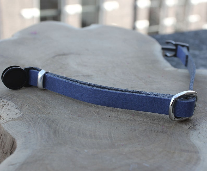 adjustable quick release Break Away Blue genuine leather cool cat collar with grey agate teardrop gemstone crystal charm personalized