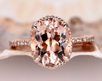 Oval Natural Morganite Engagement Ring Rose Gold 9x11mm Oval Shape Morganite Ring Vintage Floral Setting Solid 14k Diamond band Anniversary