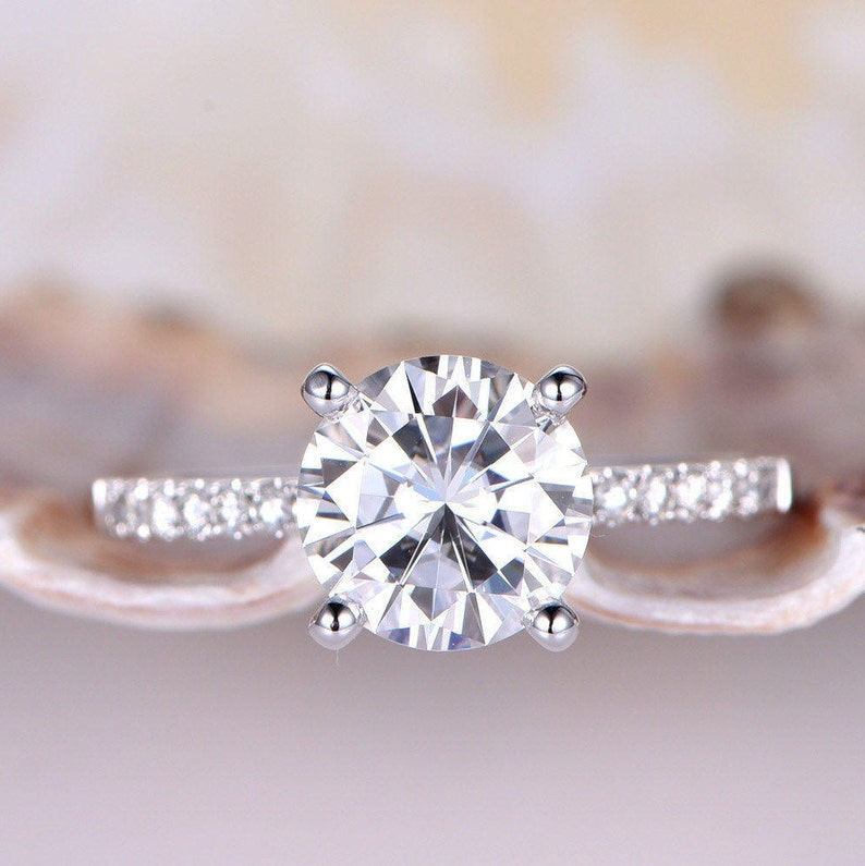 3158f4cec9c022 1.3ct Brilliant Moissanite Engagement Ring 7mm Round   Etsy