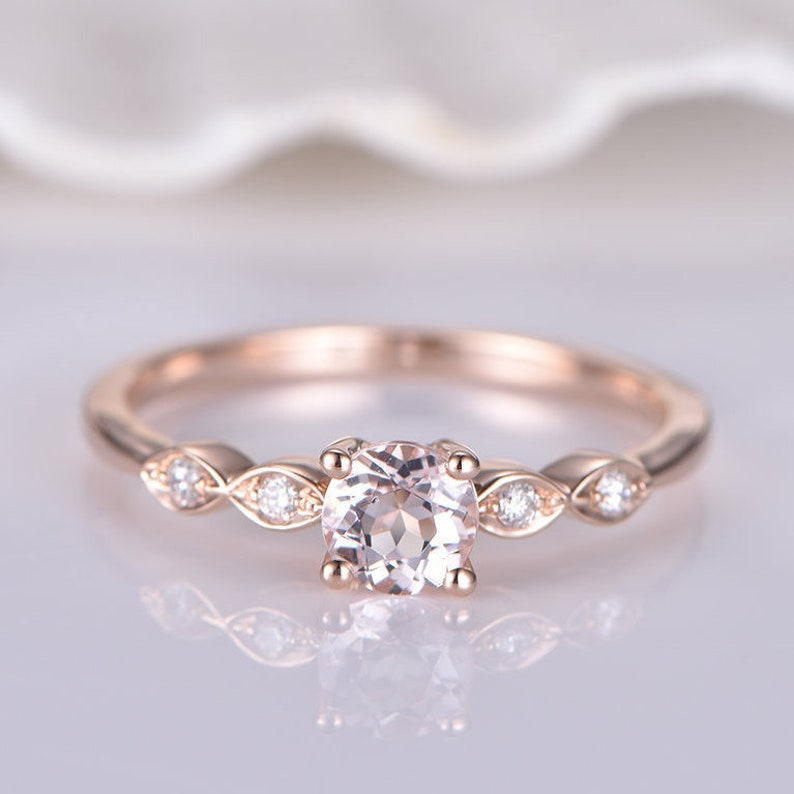 082d9e785bb9d Morganite Engagement Ring Rose Gold Solitaire Ring Shell Shape Diamond  Wedding Band Art Deco Style Promise Ring 14k 5mm Round Cut Stone