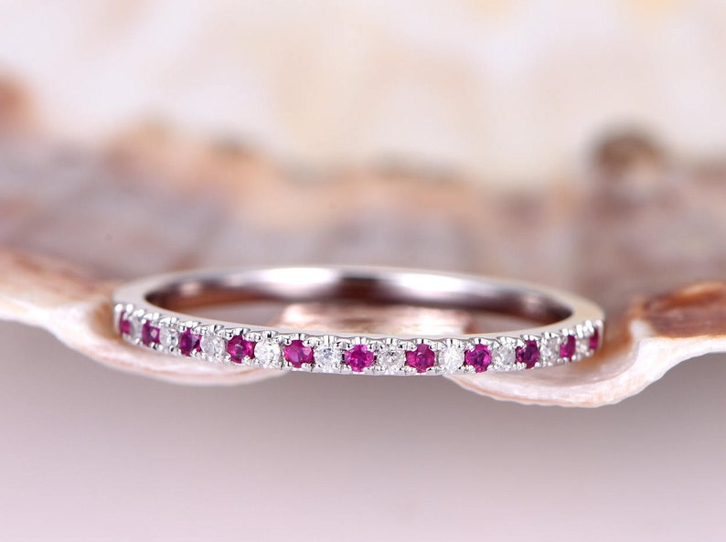 84224163215cf Natural ruby diamond wedding band solid 14k white gold half eternity ring  matching band stacking ring anniversary ring thin band pave set