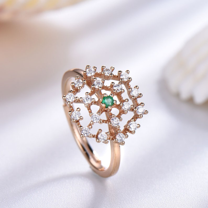 Adjustable CZ diamond emerald ring gift for women rose gold plated sterling silver 925 cubic zircon engagement ring fireworks design
