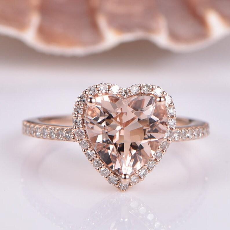 d2e125930e6e6 Morganite Engagement Ring 14K Rose Gold 10mm Heart Shape Morganite Halo  Anniversary Ring Natural Diamond Band Bridal Ring Propose Prongs Set