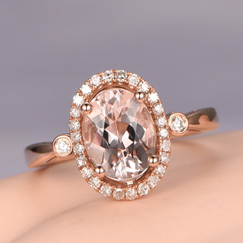 85a938415fbd0 Oval 6x8mm Morganite ring diamond engagement ring solid 14k Rose gold band  Pink gemstone bridal halo promise ring