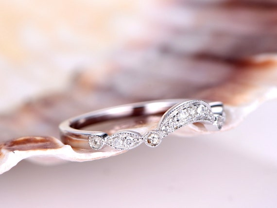 Curved wedding ring art deco cured wedding band solid 14kwhite gold half eternity ring stacking matching ring valentine for her