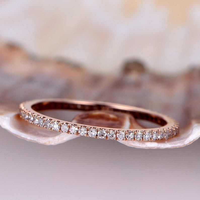 Pave Wedding Band.Diamond Wedding Band Petite French Micro Pave Band Solid 14k Rose Gold Full Eternity Ring Engagement Ring Stack Matching Band Thin Band