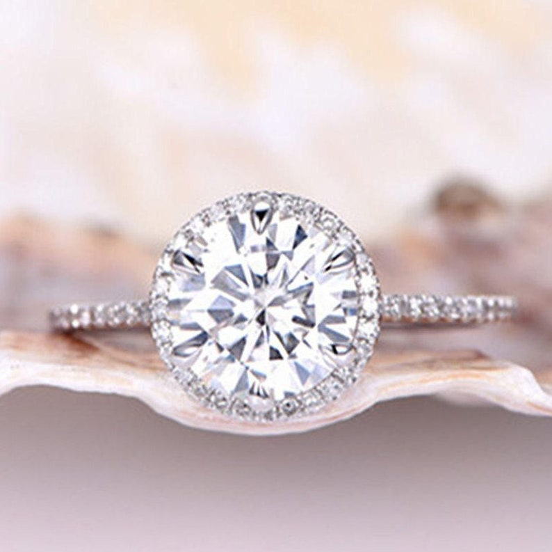 dafa1f980f680 Brilliant Moissanite Engagement Ring 7.5mm Round Cut Moissanite Ring  Diamond Wedding Band Half Eternity Band 6 Prongs Set 14K White Gold