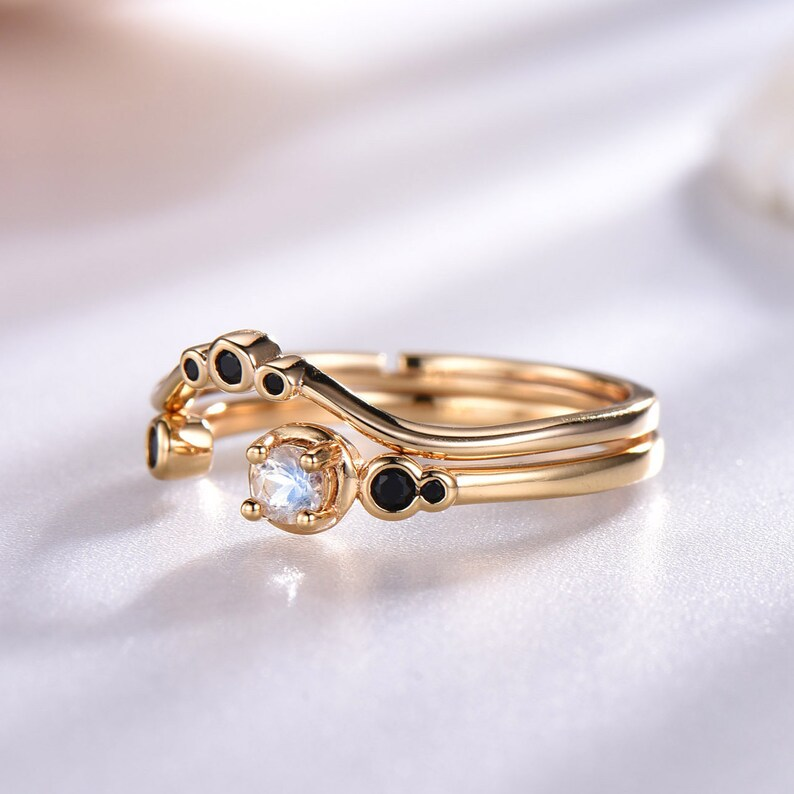 Moonstone Engagement Ring Set Yellow Gold Plated Black Cubic Zircon Matching Band Sterling Silver 925 Natural Moonstone Adjustable Ring Set