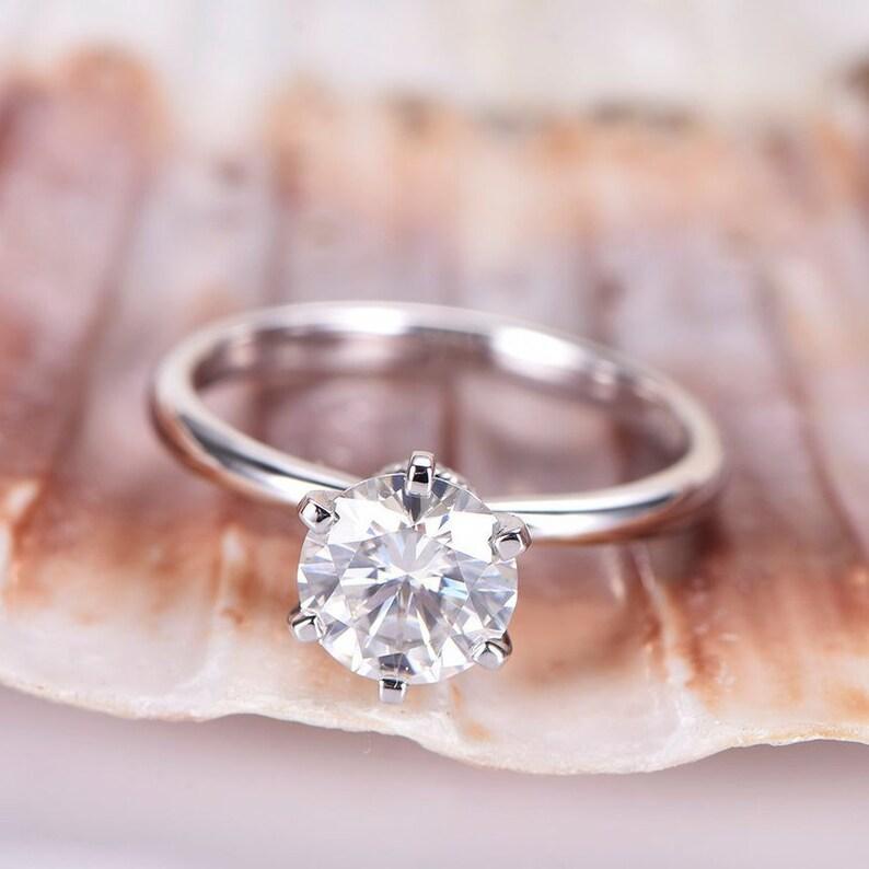 274603401e6d67 Charles & Colvard Moissanite Engagement Ring 7mm Round Cut   Etsy