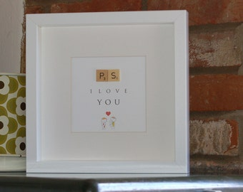 Framed illustrated word art with wooden letter tiles - PS I Love You