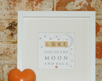 Framed illustrated word art with wooden letter tiles - LOVE You To The Moon And Back