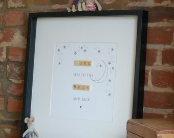Large Framed illustrated word art with wooden letter tiles - LOVE You To The MOON And Back