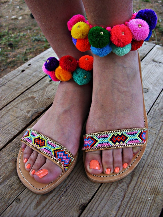 sandals pom sandals sandals sandals luxurious pom leather Lila' greek E5SOwIBOq