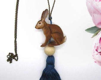 """Forget-me-not"" - long necklace SAUTOIR with Hare / rabbit and tassel - Collection ""animals of the Princess"""