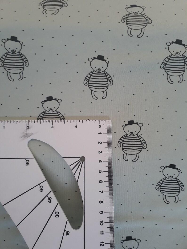 Bear Mint Cotton Jersey Tricot Fabric