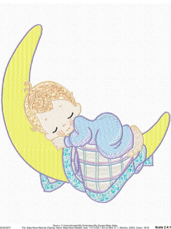 Sleeping Baby On Moon Machine Embroidery Design 3 Sizes For Etsy