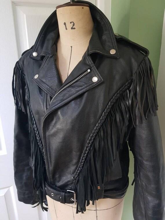 Vintage unisex fringed leather jacket in black