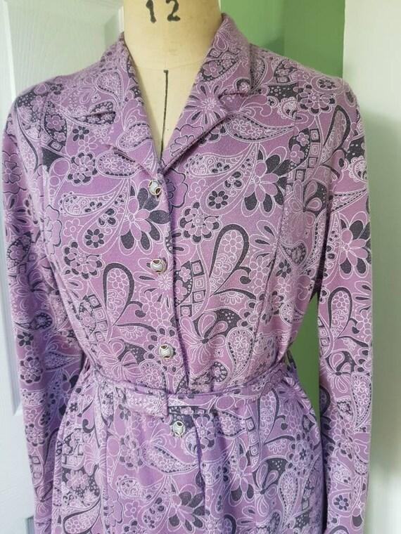Vintage purple jersey paisley day dress