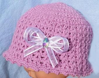 Uncinetto bambino ragazze rosa sole cappello precoce precoce piccolo  preemie cloche in estate 1c51b8e10d86