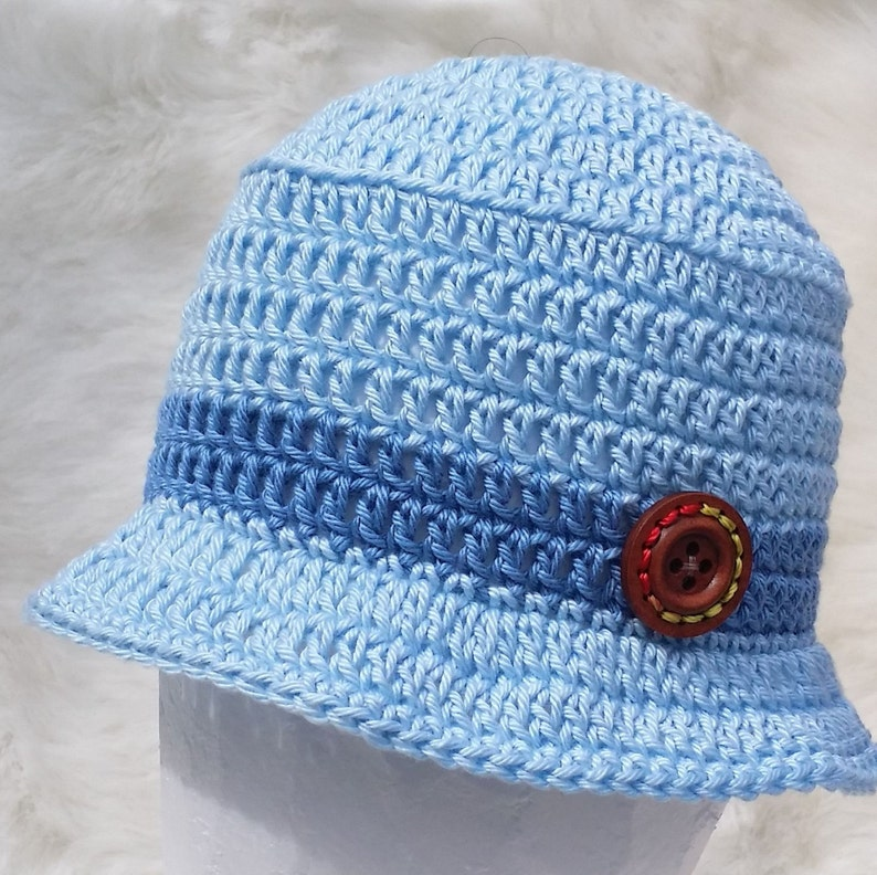 27da4c862 Baby boys pale blue hand crocheted cotton sun hat small early preemie  premature baby knitted crochet summer brimmed bucked hat with brim