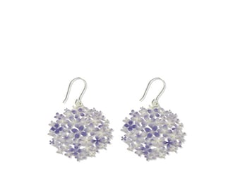 Earrings Hortensias violeta, Purple hydrangea silver plated jewelry for her, unique and powerful flowers