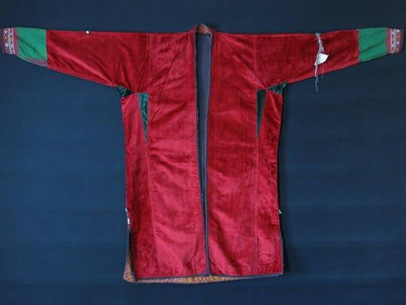 Vintage Turkmen velvet chapan robe