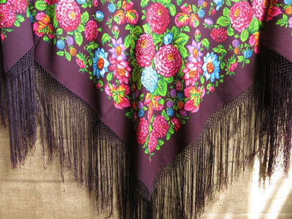 Traditional Wool Turkmen Oversized Shawl - Scarf … - image 5