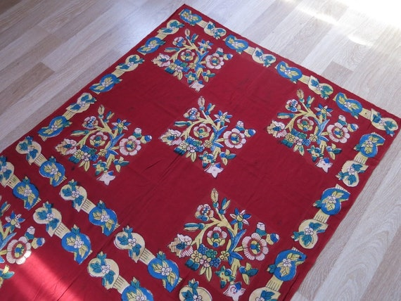 Turkish block printed scarf - table cover