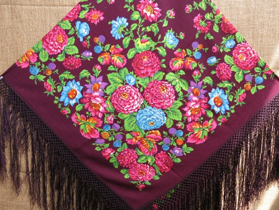 Traditional Wool Turkmen Oversized Shawl - Scarf … - image 1