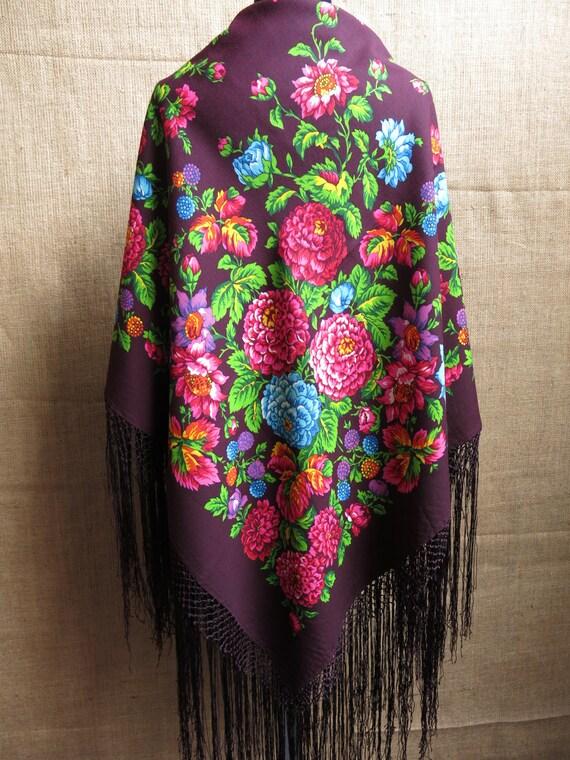 Traditional Wool Turkmen Oversized Shawl - Scarf … - image 8