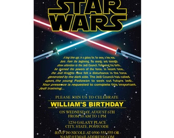 Star Wars Invitation EDITABLE TEXT Printable Birthday Party Invite The Force Awakens Instant Download PDF