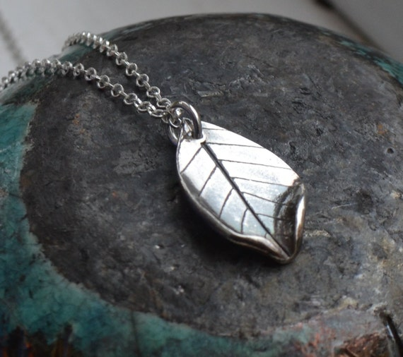 Handmade fine and sterling real silver leaf necklace.