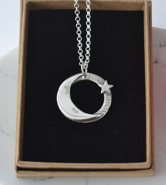 Handmade large fine silver moon and star necklace. Celestial jewellery, moon and star jewellery, birthday gifts, handmade jewellery
