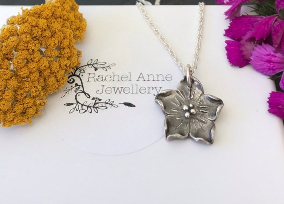 Silver flower necklace. Handmade flower pendant.