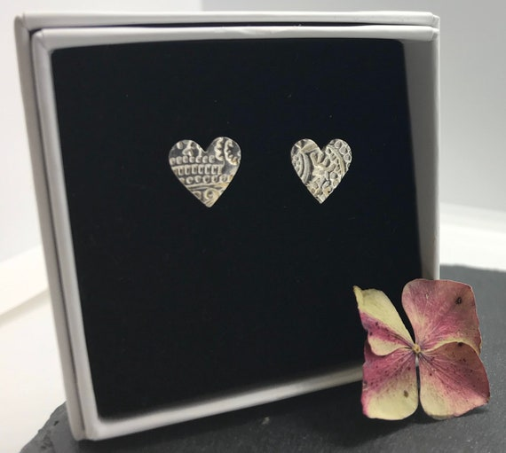 Silver Heart Studs - Heart Earrings - Everyday Wear - Gifts For Her - Heart Studs - Christmas Gifts