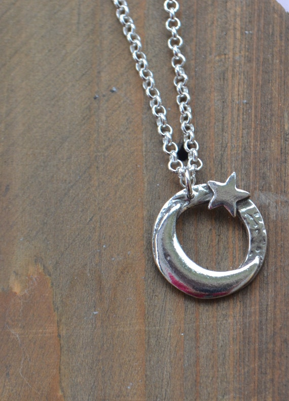 fine silver, sterling silver crescent moon and star necklace/ moon and star pendant/ handmade necklace/ moon and star necklace, moon pendant