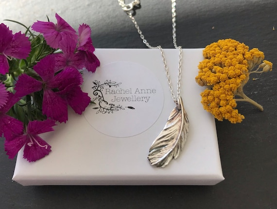 Silver feather pendant, feather necklace. Christmas gifts.