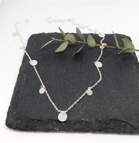 Sterling Silver tiny Discs choker style Necklace - Silver Tiny Disc Necklace - Delicate Necklace - Christmas gifts