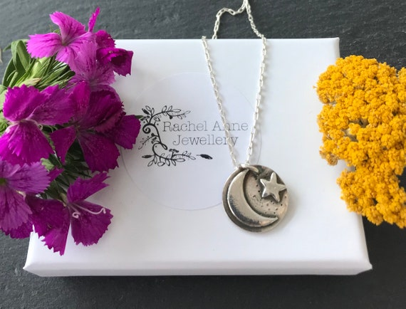 Moon and star necklace. Silver moon and star necklace. Christmas gifts