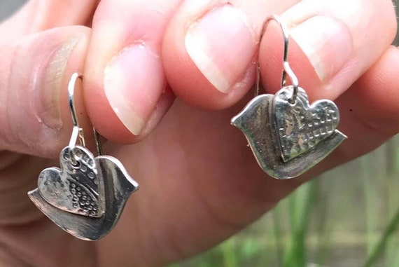 Silver bird dangle earrings. Handmade Bird earrings.